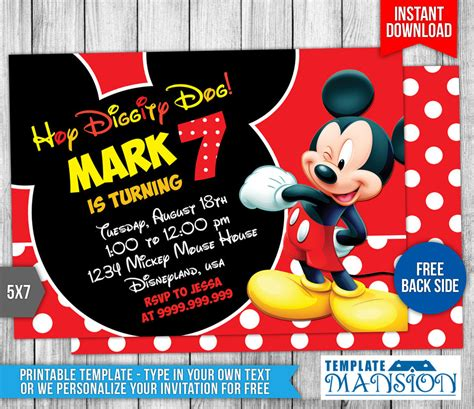 mickey birthday invitations mickey birthday invitations with