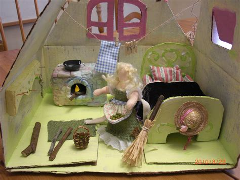 Handmade Puppet Theatre - handmade cinderella doll in cardboard handmade dollhouse