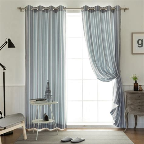 blue grey striped curtains gray and blue striped print polyester and linen bedroom
