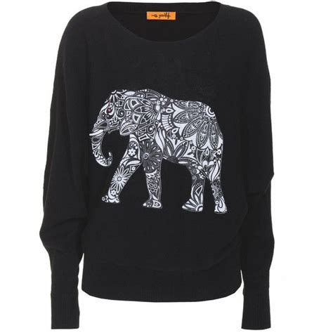 pattern elephant shirt miss goodlife elephant pattern black cashmere sweater with