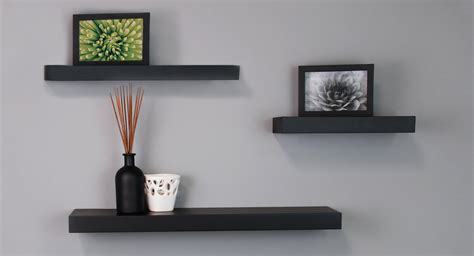 black floating wall shelves by nexxt mnml living