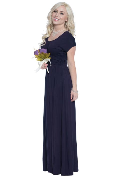 Modest Maxi Dresses by Quot Athena Quot Modest Maxi Dress W Ruched Empire Waist In Navy Blue