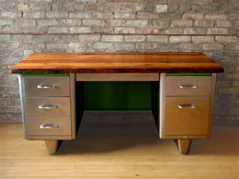 idea for wood metal mix decorations reclaimed wood steel desk tanker desk desks and