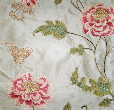 embroidered fabrics colefax fowler oriental poppy embroidered floral silk