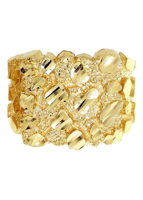 nugget 10k yellow gold mens ring 6 9 grams frostnyc