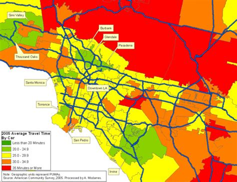 california air quality map la area average travel time to work by car 2005