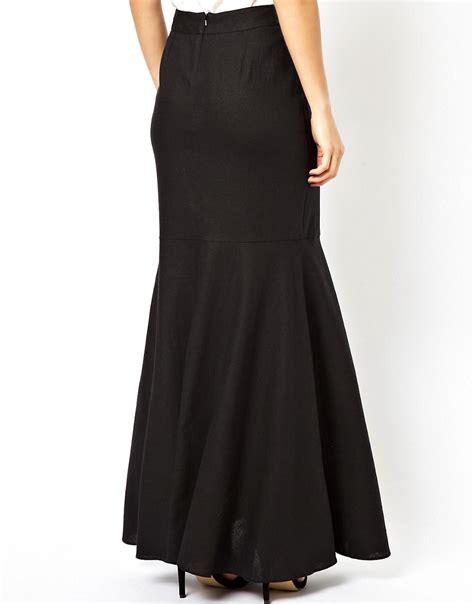 asos asos maxi skirt in linen with side split at asos