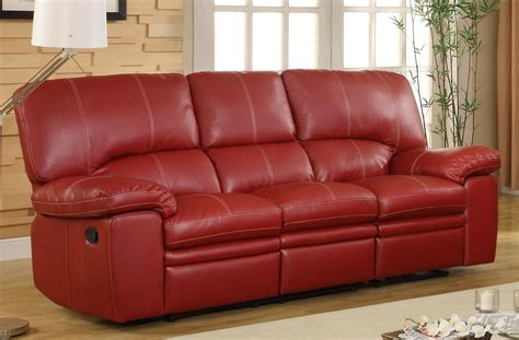 red leather loveseat recliner homelegance kendrick double recliner sofa red bonded