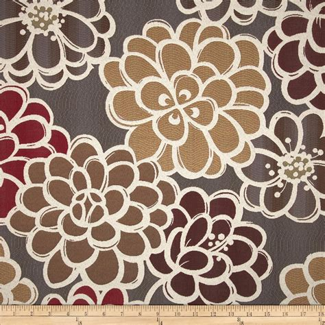 100 Polyester Upholstery Fabric Golding Shaw Floral Upholstery Jacquard Grey Burgundy