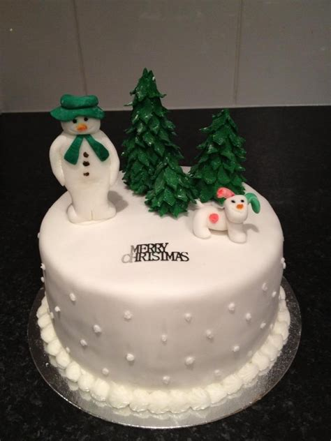 the snowman and snowdog christmas cake christmas trees