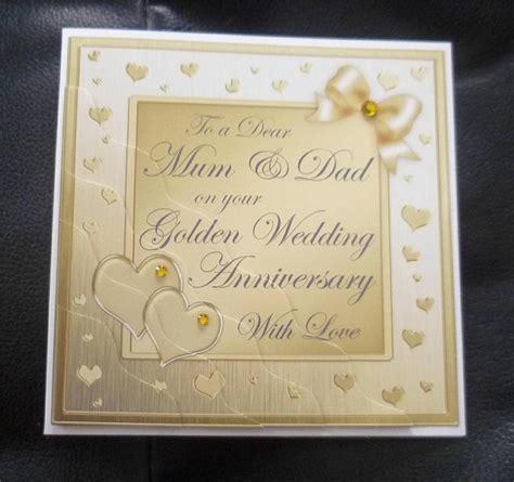 50th wedding anniversary cards uk 2 golden 50th 50 years wedding anniversary card ebay