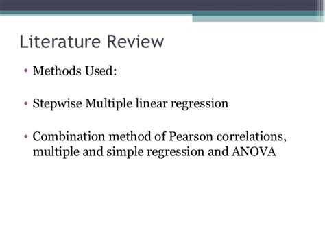 Literature Review Of Regression Analysis by Statistics Study Stepwise Regression