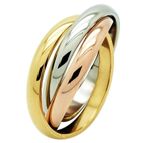tri colour steel russian wedding ring stainless steel