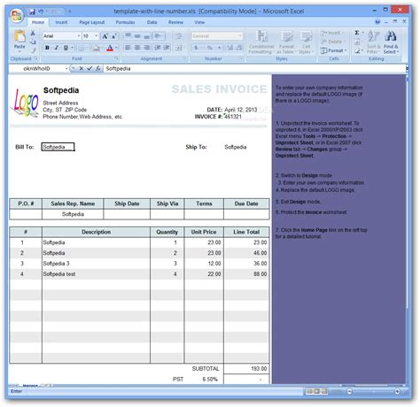 template with line number on invoice