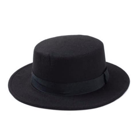 Sailor Grey Fedora Hat unisex flat top boater bowler hat sailor wide brim