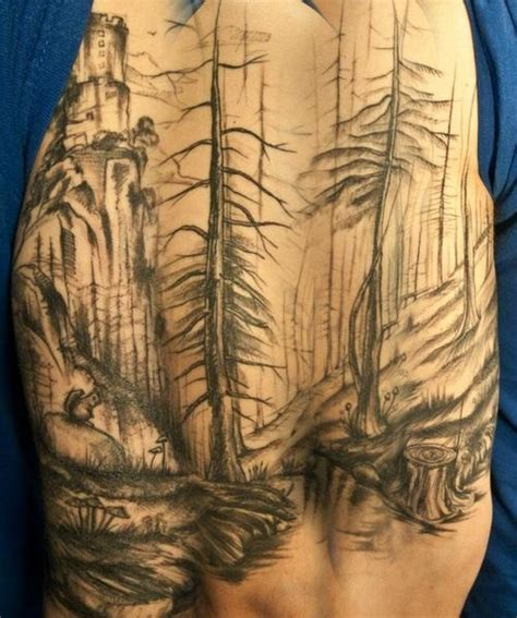 forest scene tattoo forest inspirations