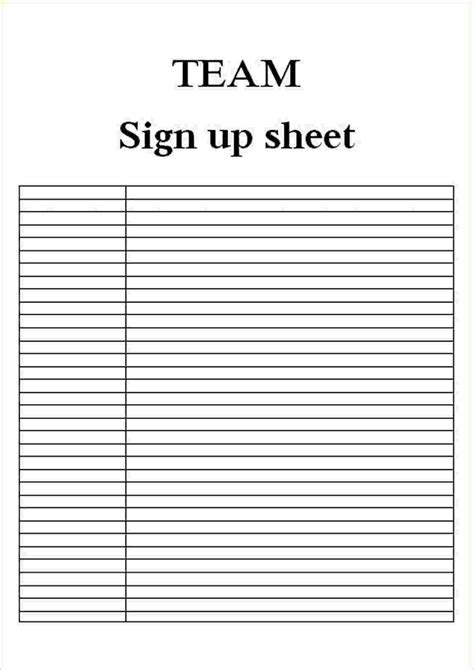 sign up sheets template business investment contract
