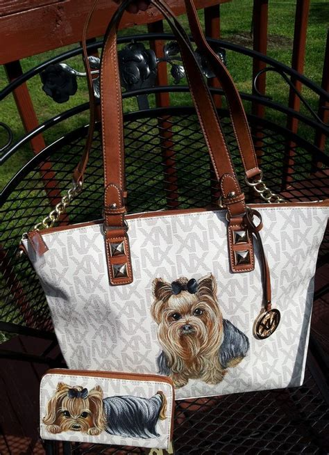 yorkie handbags handpainted yorkie handbag w wallet painting purse misspaint