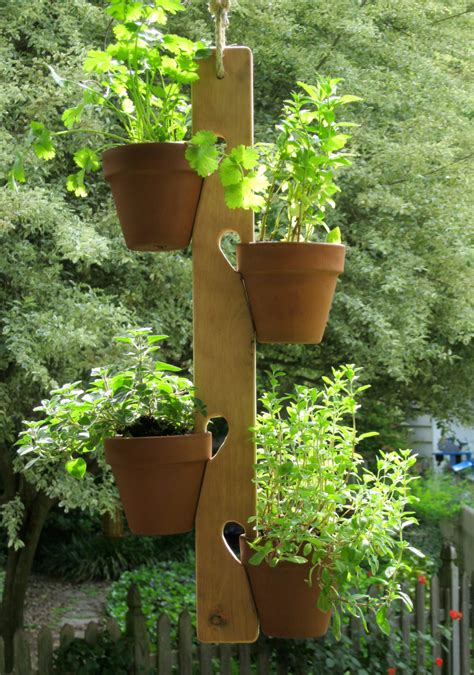 flower pot plant hanger wood herbs flowers handmade by