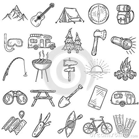 doodle mini clip set of cing icons stock vector image
