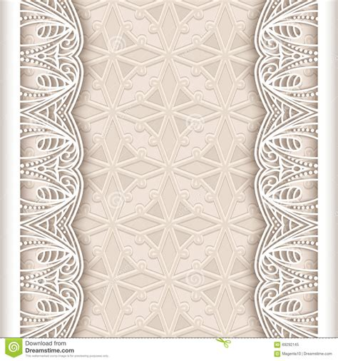 Wedding Card Border Line by Vintage Lace Background With Seamless Borders Vector
