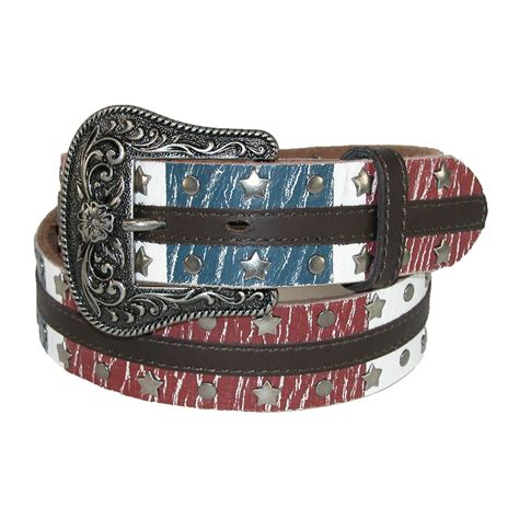 womens leather american flag western belt with removable