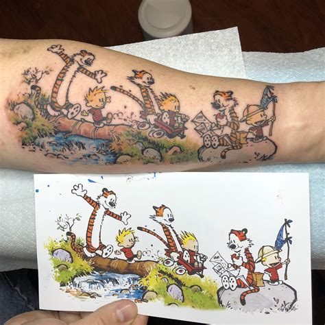 uv tattoo edmonton my new calvin and hobbes tattoo done by rick brown in new