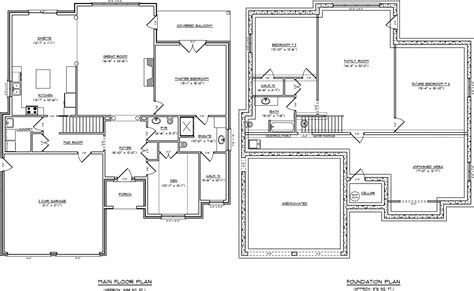 one story floor plans with basement single story house plans with basement house design ideas