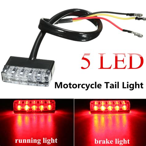 led glow lights for motorcycle 12v 5 led rear tail running stop brake light red l
