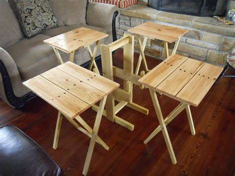 custom tv tray tables tv tray tables set of four with stand by davidnvicki on etsy