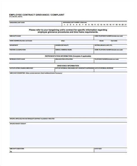 employee grievance form sle grievance complaint forms 7 free documents in