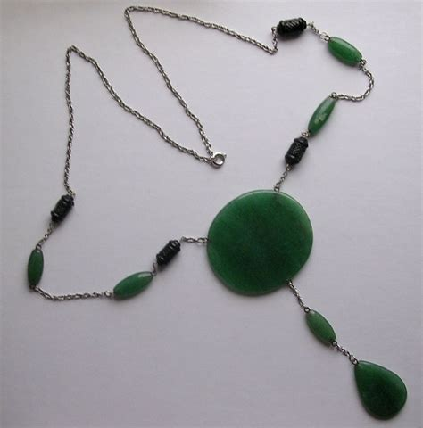 vintage deco style aventurine pendant necklace from