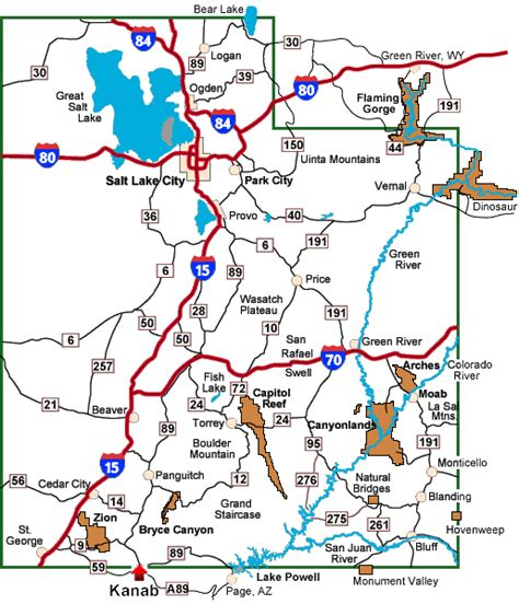 map of utah detailed road map of the state of utah contact information