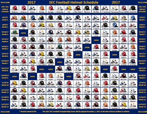 printable helmet schedule 2017 sec football schedule grid autos post