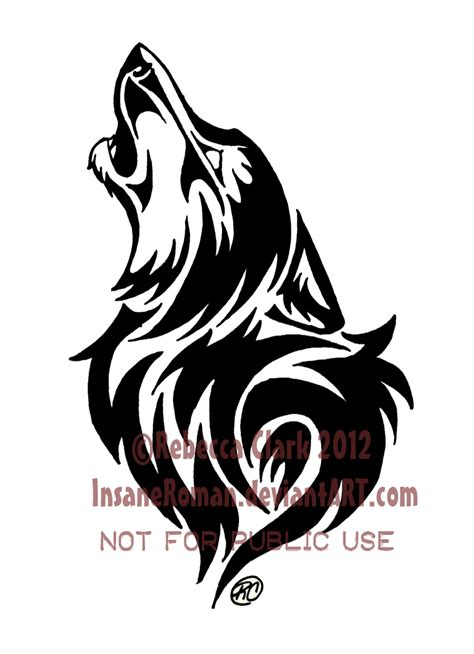 tribal wolf tattoo design howling wolf tribal by insaneroman deviantart on