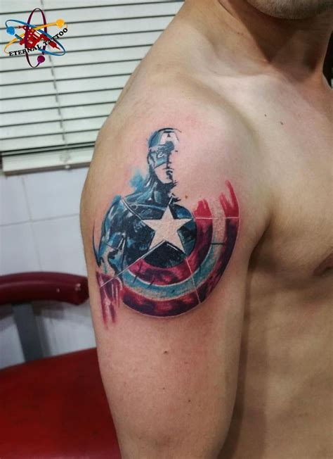chest tattoo gym captain america tattoo super hero shirts gadgets