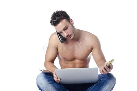 download image man injects synthol with muscles pc android iphone shirtless young man overwhelmed by technology pc tablet