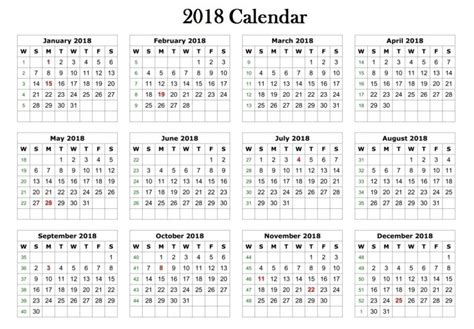 2018 Calendar Printable Template Free Calendar 2018 Template