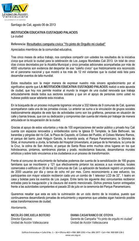 PREGON EUSTAQUIANO: CARTA DE AGRADECIMIENTO POR