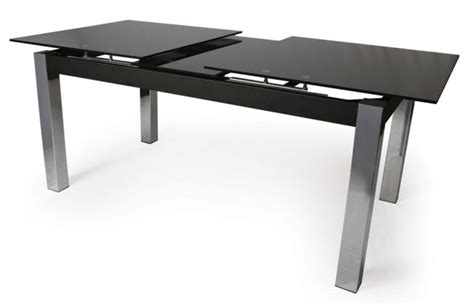 Black Glass Extending Dining Table Black Glass Extendable Dining Table Ebay