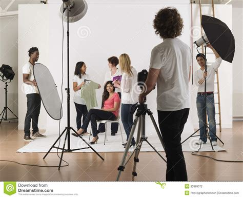 photo session multiethnic during photo session stock photography