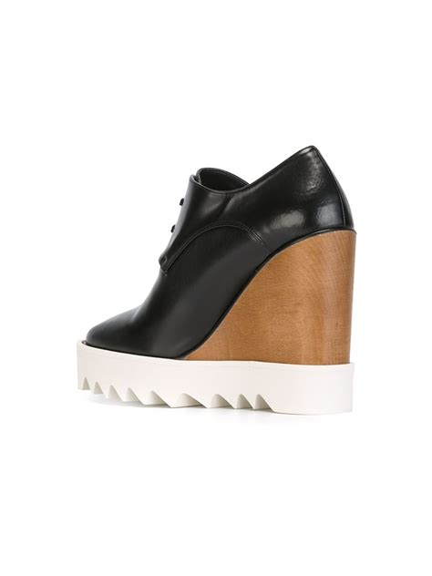Stella Mccartney Wedges stella mccartney wedge lace up shoes in black lyst