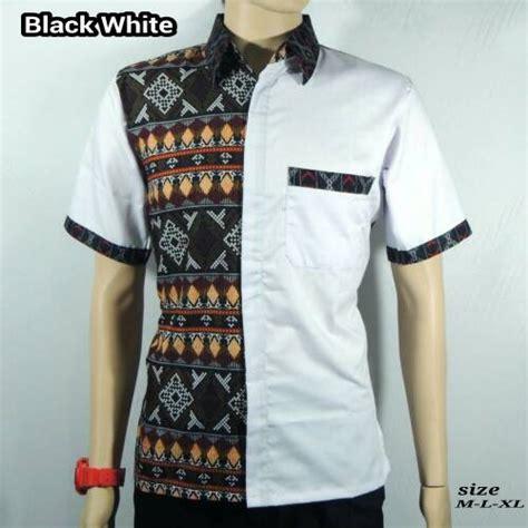 Kemeja Pria Lengan Pendek Hitam Combi List Hem C Grosir jual kemeja batik pria baju batik kombinasi songket