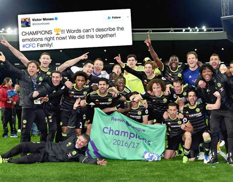chelsea react chelsea stars react to title win online as club changes