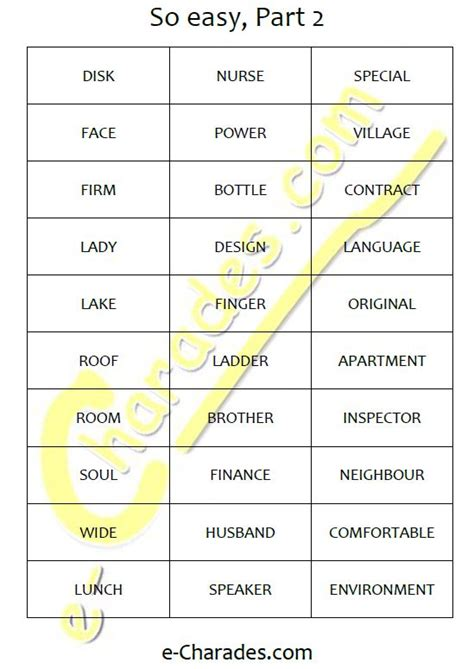 Charades Cards Template by Free Printable Word List E Charades