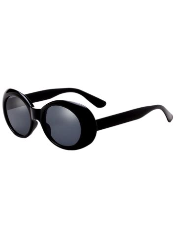 Anting Retro Oval In Ar02 black anti uv oval retro wrap frame sunglasses rosegal