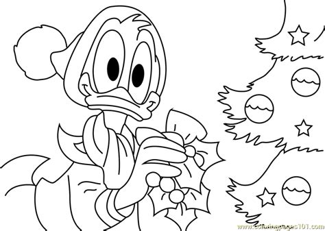donald decorating christmas tree coloring page  christmas tree coloring pages
