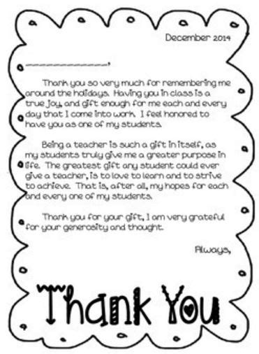 thank you letter to from student thank you letter for teachers from students