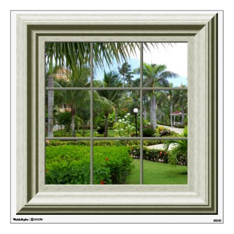window wall stickers faux window tropical landscape mural wall decal wall skin zazzle