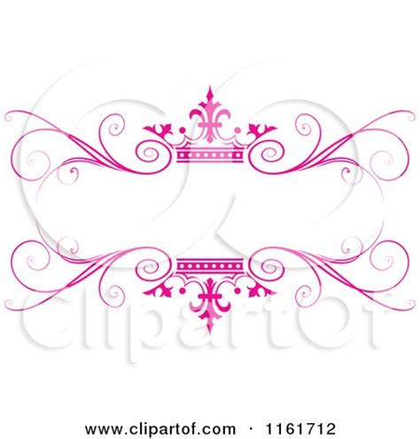 clipart of an ornate pink swirl and crown wedding frame